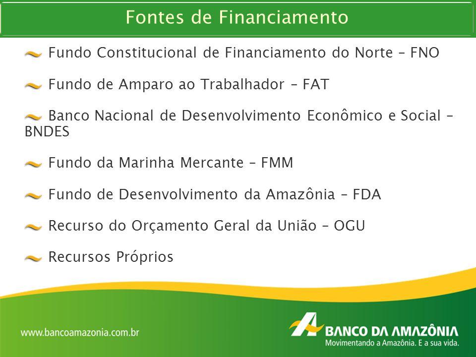 Fundo Constitucional de Financiamento do Norte – FNO Fundo de Amparo ao Trabalhador – FAT Banco Nacional de Desenvolvimento Econômico e Social – BNDES