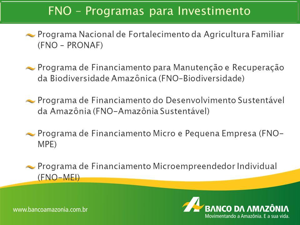 Programa Nacional de Fortalecimento da Agricultura Familiar (FNO – PRONAF) Programa de Financiamento para Manutenção e Recuperação da Biodiversidade A