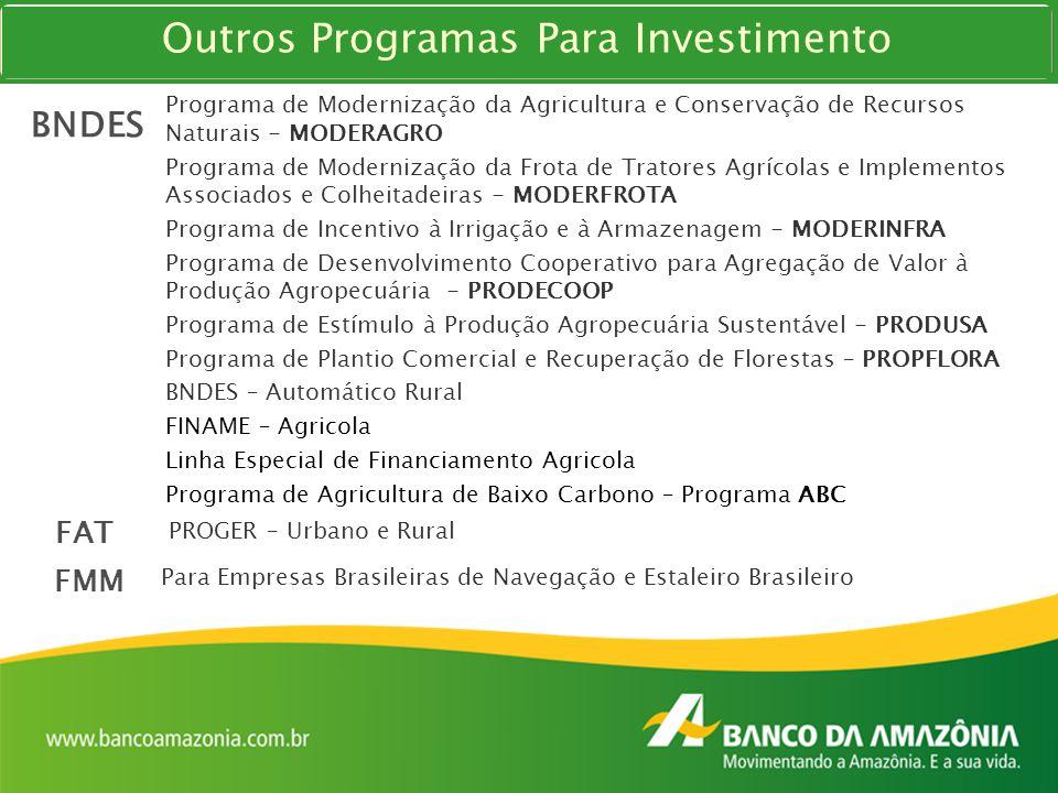 Programa de Modernização da Agricultura e Conservação de Recursos Naturais - MODERAGRO Programa de Modernização da Frota de Tratores Agrícolas e Imple