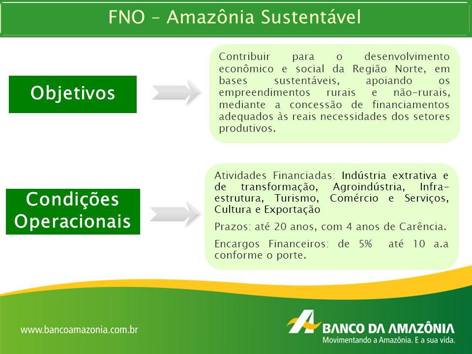 Condições Operacionais Atividades Financiadas: Indústria extrativa e de transformação, Agroindústria, Infra- estrutura, Turismo, Comércio e Serviços,