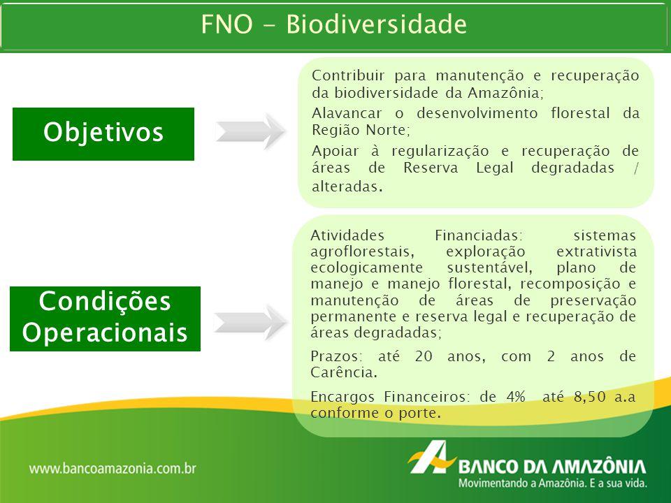 Condições Operacionais Atividades Financiadas: sistemas agroflorestais, exploração extrativista ecologicamente sustentável, plano de manejo e manejo f