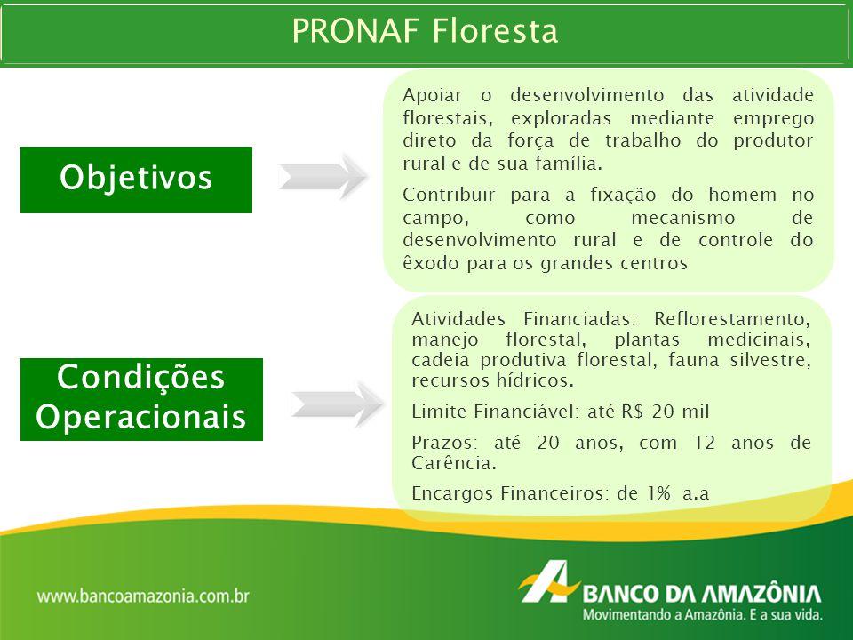 PRONAF Floresta Objetivos Apoiar o desenvolvimento das atividade florestais, exploradas mediante emprego direto da força de trabalho do produtor rural