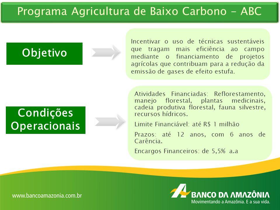 Programa Agricultura de Baixo Carbono - ABC Objetivo Incentivar o uso de técnicas sustentáveis que tragam mais eficiência ao campo mediante o financia