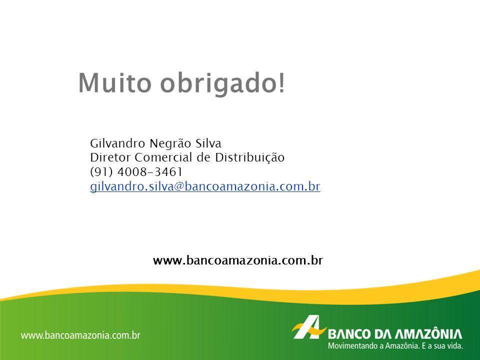 Muito obrigado! Gilvandro Negrão Silva Diretor Comercial de Distribuição (91) 4008-3461 gilvandro.silva@bancoamazonia.com.br www.bancoamazonia.com.br