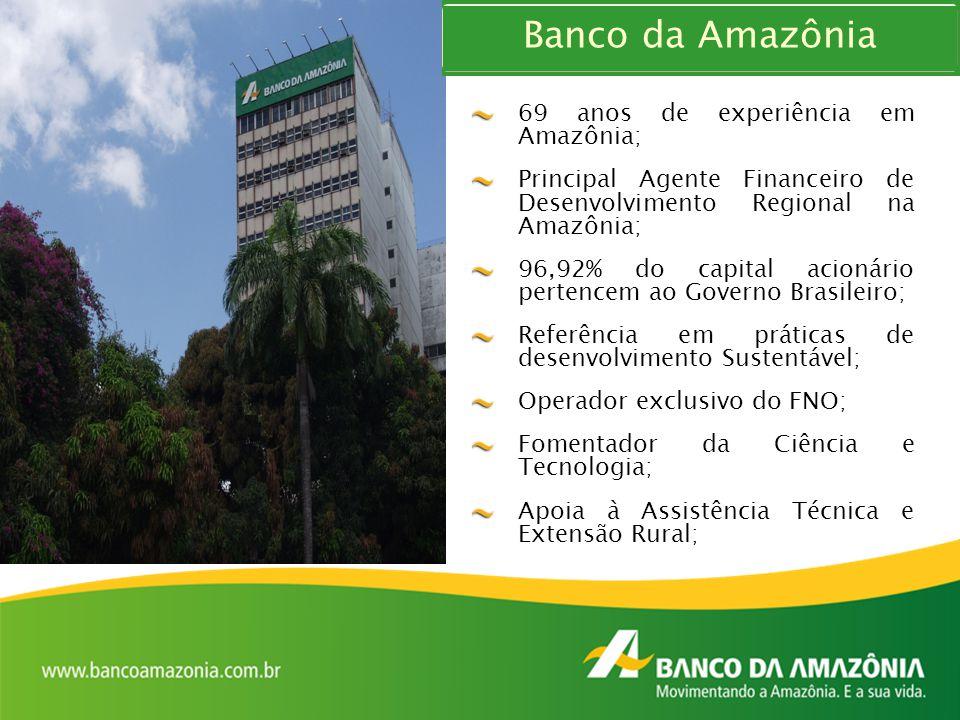 Banco da Amazônia 69 anos de experiência em Amazônia; Principal Agente Financeiro de Desenvolvimento Regional na Amazônia; 96,92% do capital acionário