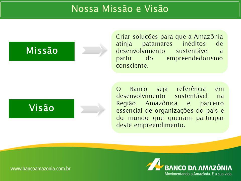 Missão Criar soluções para que a Amazônia atinja patamares inéditos de desenvolvimento sustentável a partir do empreendedorismo consciente. Visão O Ba