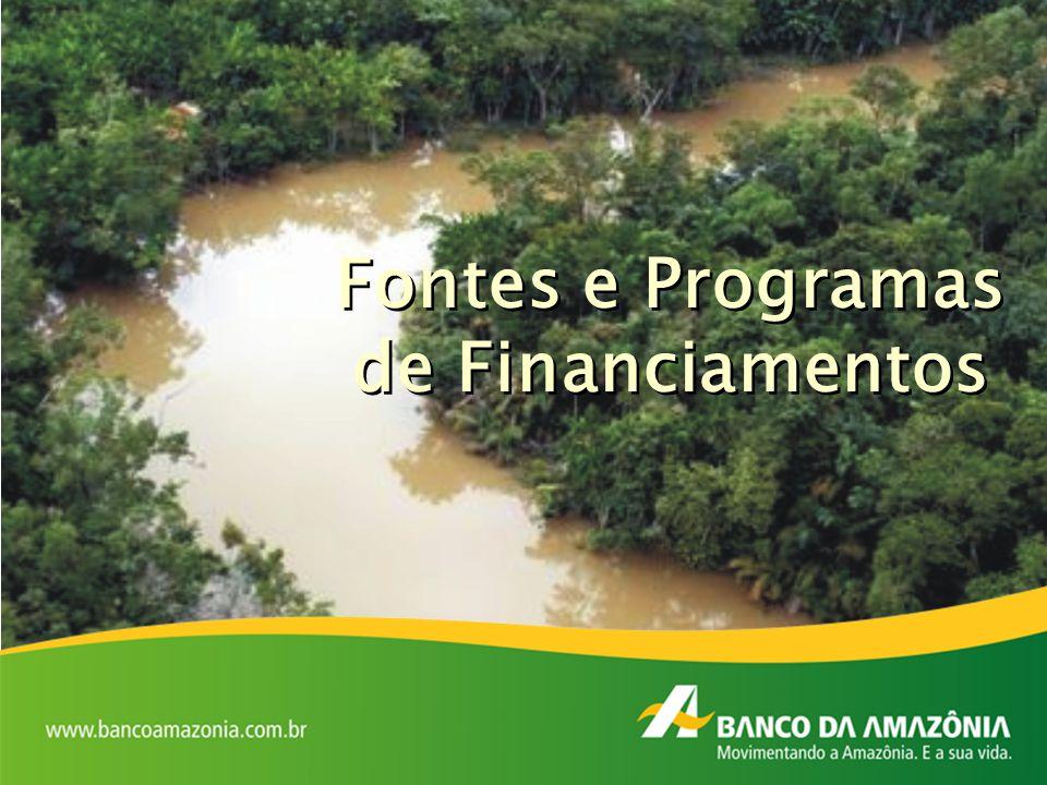 Fundo Constitucional de Financiamento do Norte – FNO Fundo de Amparo ao Trabalhador – FAT Banco Nacional de Desenvolvimento Econômico e Social – BNDES Fundo da Marinha Mercante – FMM Fundo de Desenvolvimento da Amazônia – FDA Recurso do Orçamento Geral da União – OGU Recursos Próprios Fontes de Financiamento