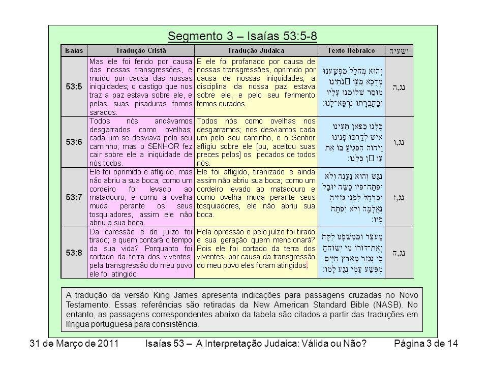 Segmento 3 – Isaiah 53:5-8 Referências cruzadas das passagens da tabela no Slide 3 31 de Março de 2011Isaías 53 – A Interpretação Judaica: Válida ou Não.