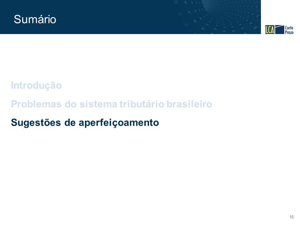 Sumário 16 Introdução Problemas do sistema tributário brasileiro Sugestões de aperfeiçoamento
