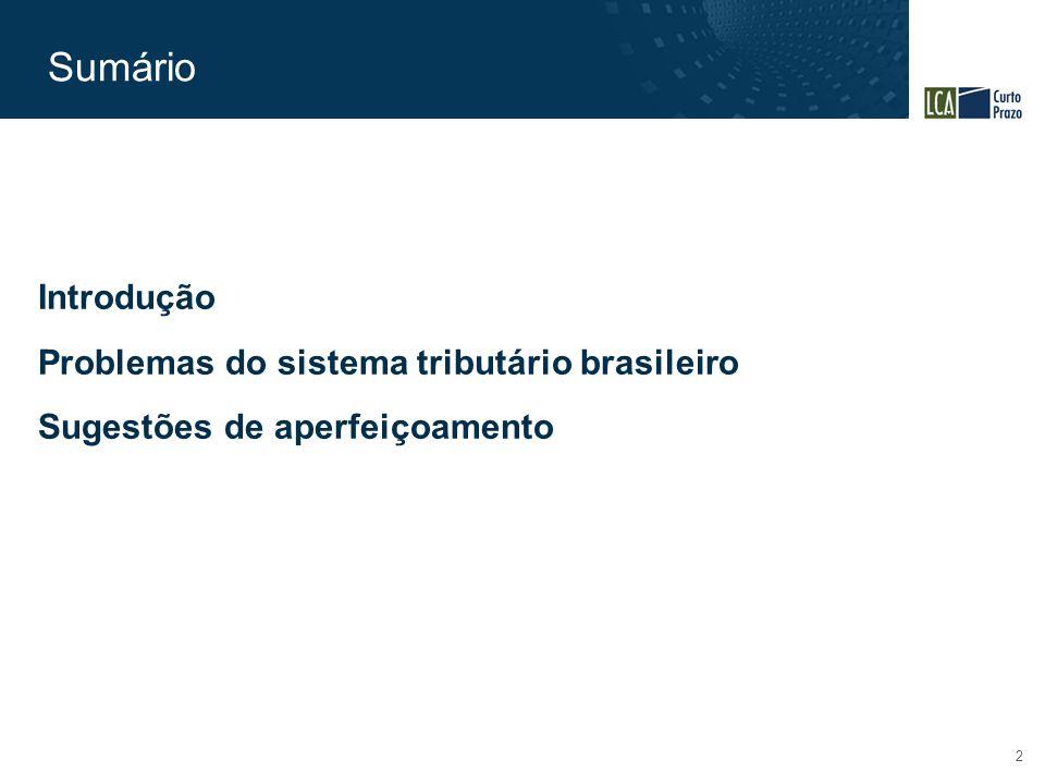 Sumário 2 Introdução Problemas do sistema tributário brasileiro Sugestões de aperfeiçoamento