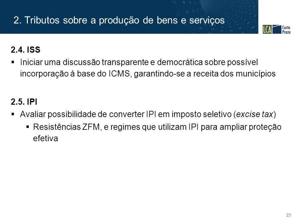 2. Tributos sobre a produção de bens e serviços 23 2.4. ISS  Iniciar uma discussão transparente e democrática sobre possível incorporação à base do I