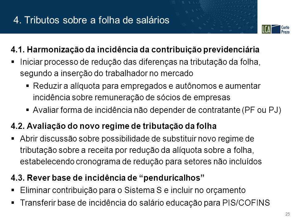 4. Tributos sobre a folha de salários 25 4.1. Harmonização da incidência da contribuição previdenciária  Iniciar processo de redução das diferenças n