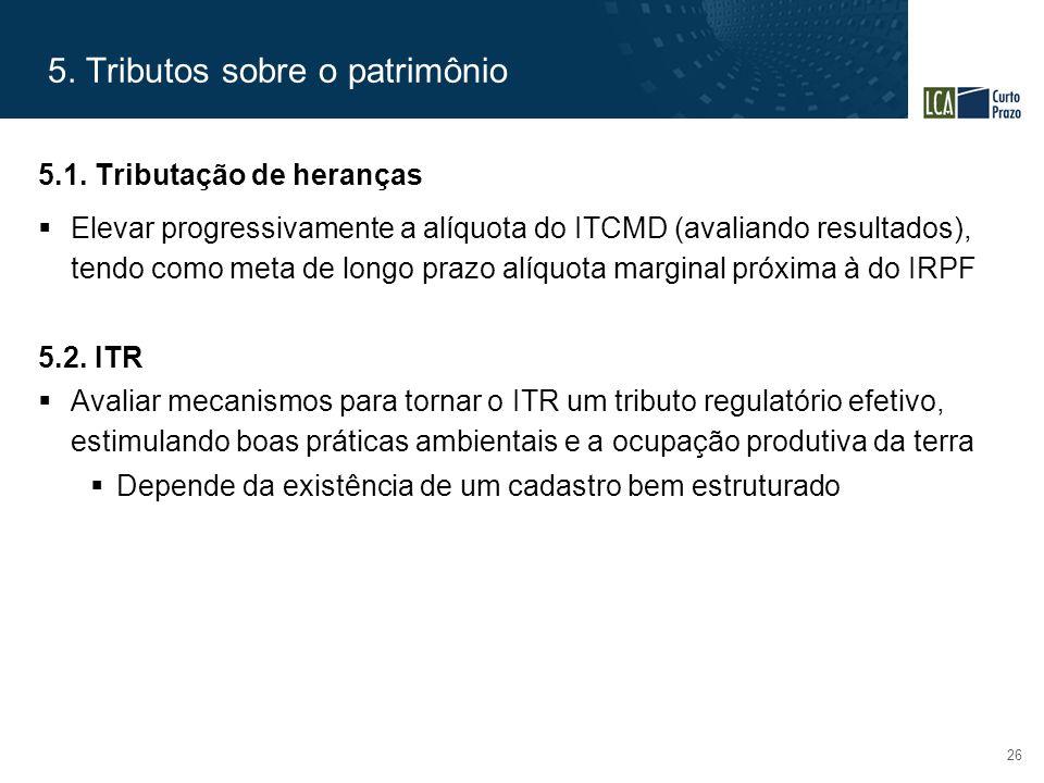 5. Tributos sobre o patrimônio 26 5.1. Tributação de heranças  Elevar progressivamente a alíquota do ITCMD (avaliando resultados), tendo como meta de