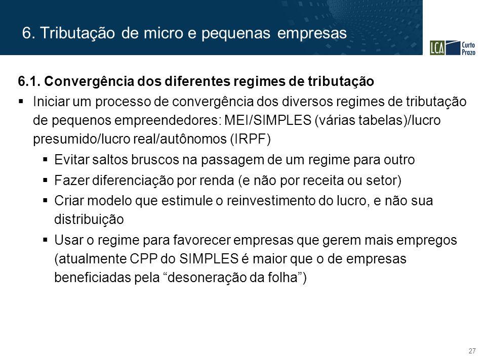 6. Tributação de micro e pequenas empresas 27 6.1. Convergência dos diferentes regimes de tributação  Iniciar um processo de convergência dos diverso