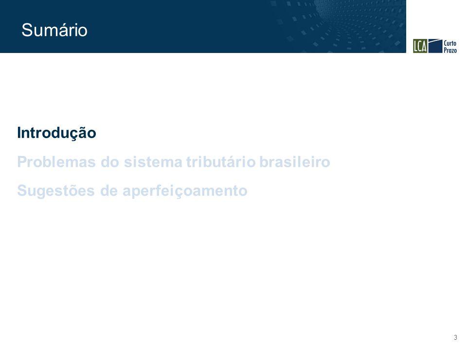 Sumário 3 Introdução Problemas do sistema tributário brasileiro Sugestões de aperfeiçoamento
