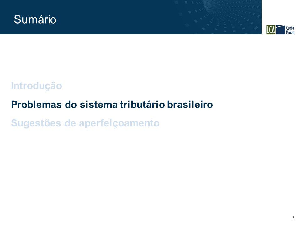 Sumário 5 Introdução Problemas do sistema tributário brasileiro Sugestões de aperfeiçoamento