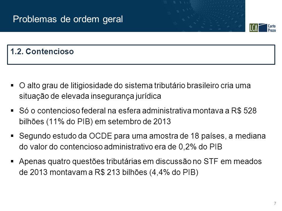 Problemas de ordem geral 7  O alto grau de litigiosidade do sistema tributário brasileiro cria uma situação de elevada insegurança jurídica  Só o contencioso federal na esfera administrativa montava a R$ 528 bilhões (11% do PIB) em setembro de 2013  Segundo estudo da OCDE para uma amostra de 18 países, a mediana do valor do contencioso administrativo era de 0,2% do PIB  Apenas quatro questões tributárias em discussão no STF em meados de 2013 montavam a R$ 213 bilhões (4,4% do PIB) 1.2.
