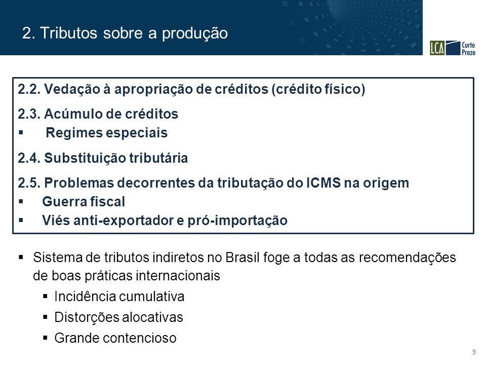 2. Tributos sobre a produção 9  Sistema de tributos indiretos no Brasil foge a todas as recomendações de boas práticas internacionais  Incidência cu