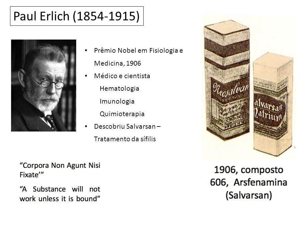 Paul Erlich (1854-1915) Prêmio Nobel em Fisiologia e Medicina, 1906 Médico e cientista Hematologia Imunologia Quimioterapia Descobriu Salvarsan – Tratamento da sífilis