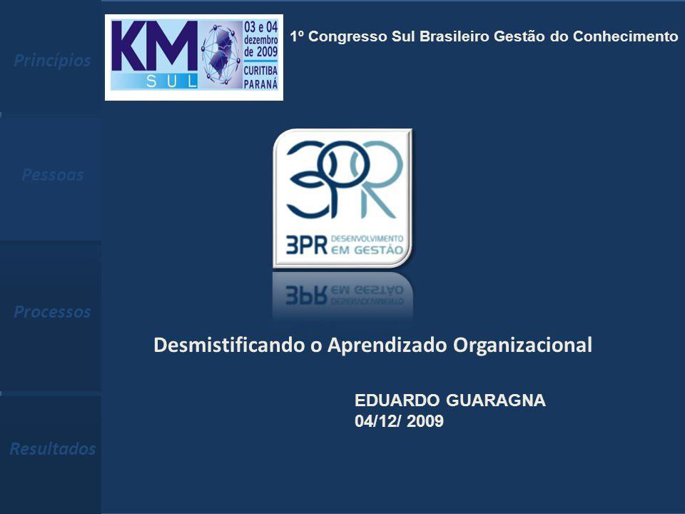 Eduardo.Guaragna@3pr.com.br (51) 3332-2039 www.3pr.com.br Princípios Pessoas Processos Resultados Princípios, Pessoas e Processos, Construindo Resultados Sustentados 1 Desmistificando o Aprendizado Organizacional EDUARDO GUARAGNA 04/12/ 2009 Princípios Pessoas Processos Resultados 1º Congresso Sul Brasileiro Gestão do Conhecimento