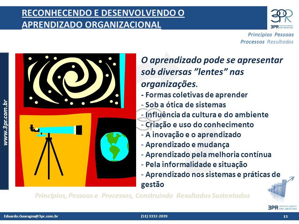 Eduardo.Guaragna@3pr.com.br (51) 3332-2039 www.3pr.com.br Princípios Pessoas Processos Resultados Princípios, Pessoas e Processos, Construindo Resultados Sustentados 13 RECONHECENDO E DESENVOLVENDO O APRENDIZADO ORGANIZACIONAL O aprendizado pode se apresentar sob diversas lentes nas organizações.