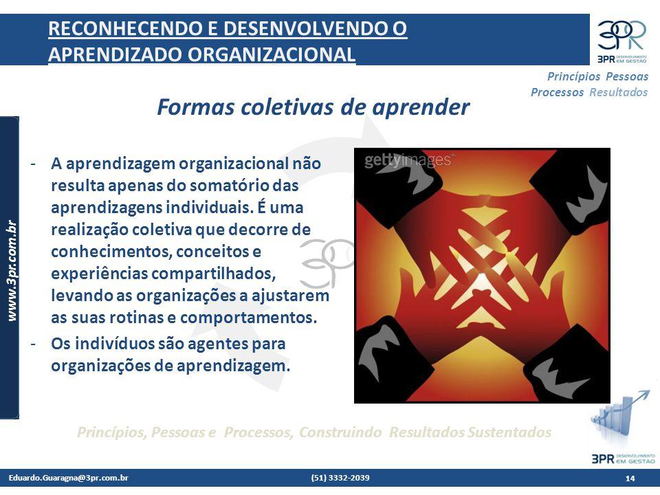 Eduardo.Guaragna@3pr.com.br (51) 3332-2039 www.3pr.com.br Princípios Pessoas Processos Resultados Princípios, Pessoas e Processos, Construindo Resultados Sustentados 14 RECONHECENDO E DESENVOLVENDO O APRENDIZADO ORGANIZACIONAL -A aprendizagem organizacional não resulta apenas do somatório das aprendizagens individuais.