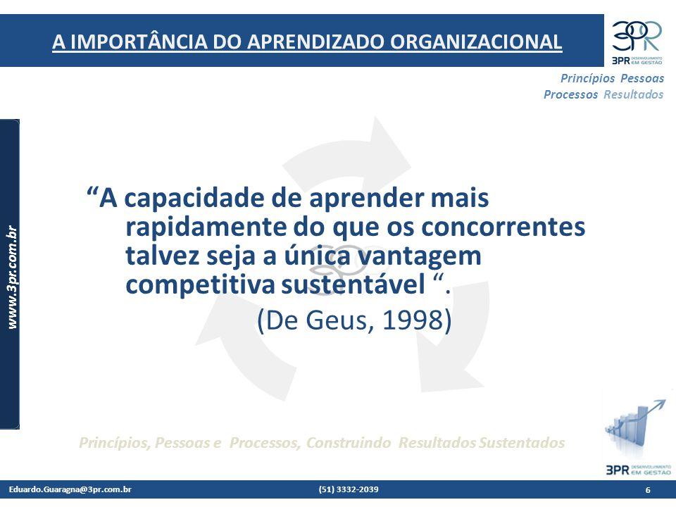 Eduardo.Guaragna@3pr.com.br (51) 3332-2039 www.3pr.com.br Princípios Pessoas Processos Resultados Princípios, Pessoas e Processos, Construindo Resultados Sustentados A capacidade de aprender mais rapidamente do que os concorrentes talvez seja a única vantagem competitiva sustentável .
