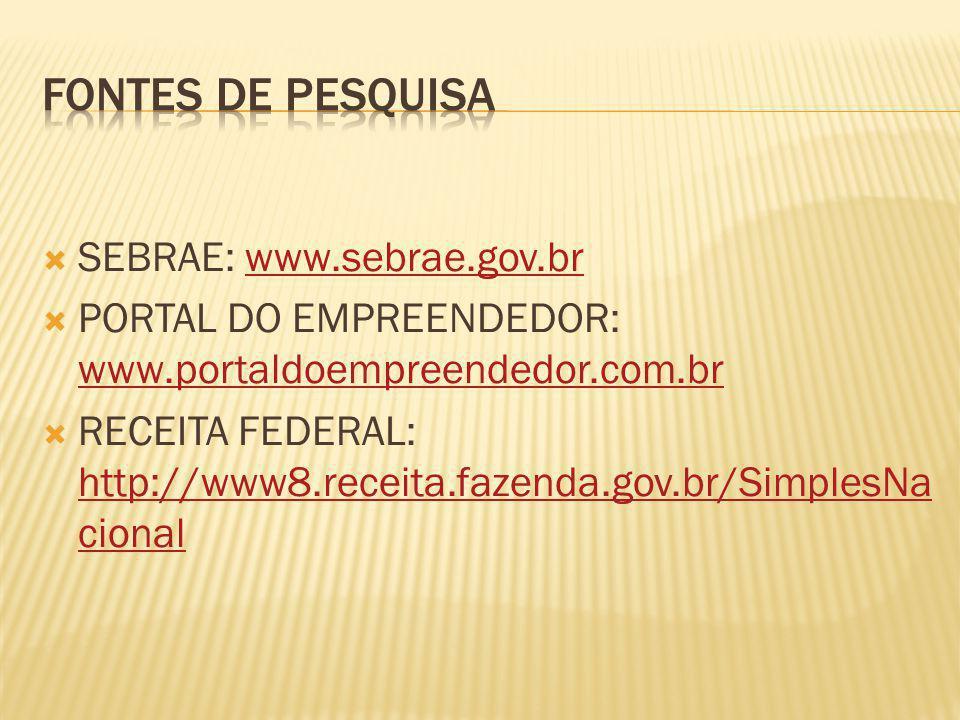  SEBRAE: www.sebrae.gov.brwww.sebrae.gov.br  PORTAL DO EMPREENDEDOR: www.portaldoempreendedor.com.br www.portaldoempreendedor.com.br  RECEITA FEDERAL: http://www8.receita.fazenda.gov.br/SimplesNa cional http://www8.receita.fazenda.gov.br/SimplesNa cional