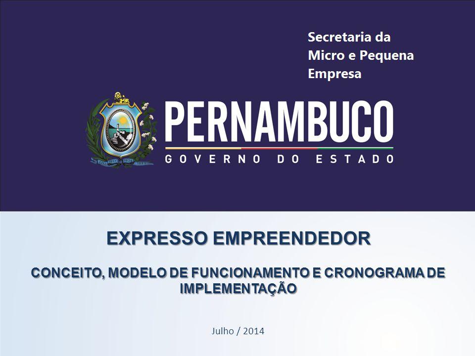 EXPRESSO EMPREENDEDOR CONCEITO, MODELO DE FUNCIONAMENTO E CRONOGRAMA DE IMPLEMENTAÇÃO Julho / 2014