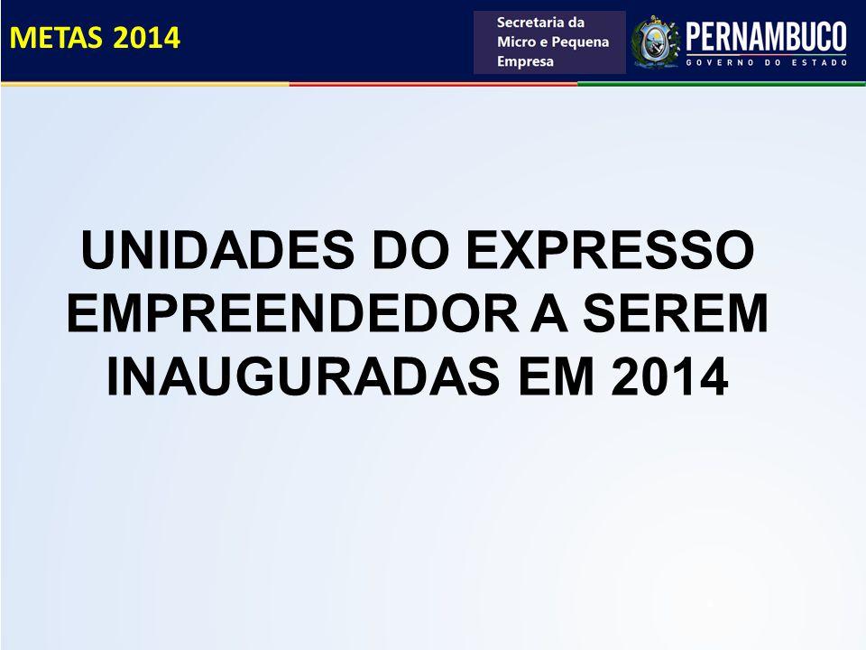 UNIDADES DO EXPRESSO EMPREENDEDOR A SEREM INAUGURADAS EM 2014 METAS 2014