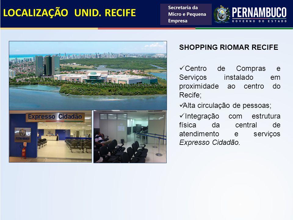 LOCALIZAÇÃO UNID. RECIFE SHOPPING RIOMAR RECIFE Centro de Compras e Serviços instalado em proximidade ao centro do Recife; Alta circulação de pessoas;