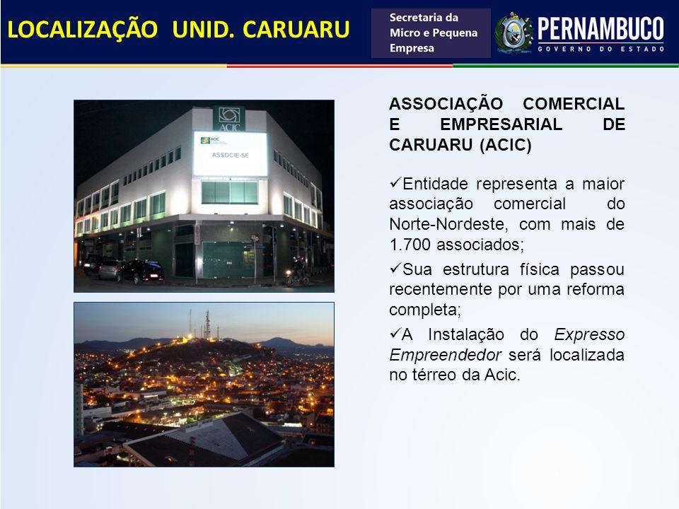 ASSOCIAÇÃO COMERCIAL E EMPRESARIAL DE CARUARU (ACIC) Entidade representa a maior associação comercial do Norte-Nordeste, com mais de 1.700 associados;