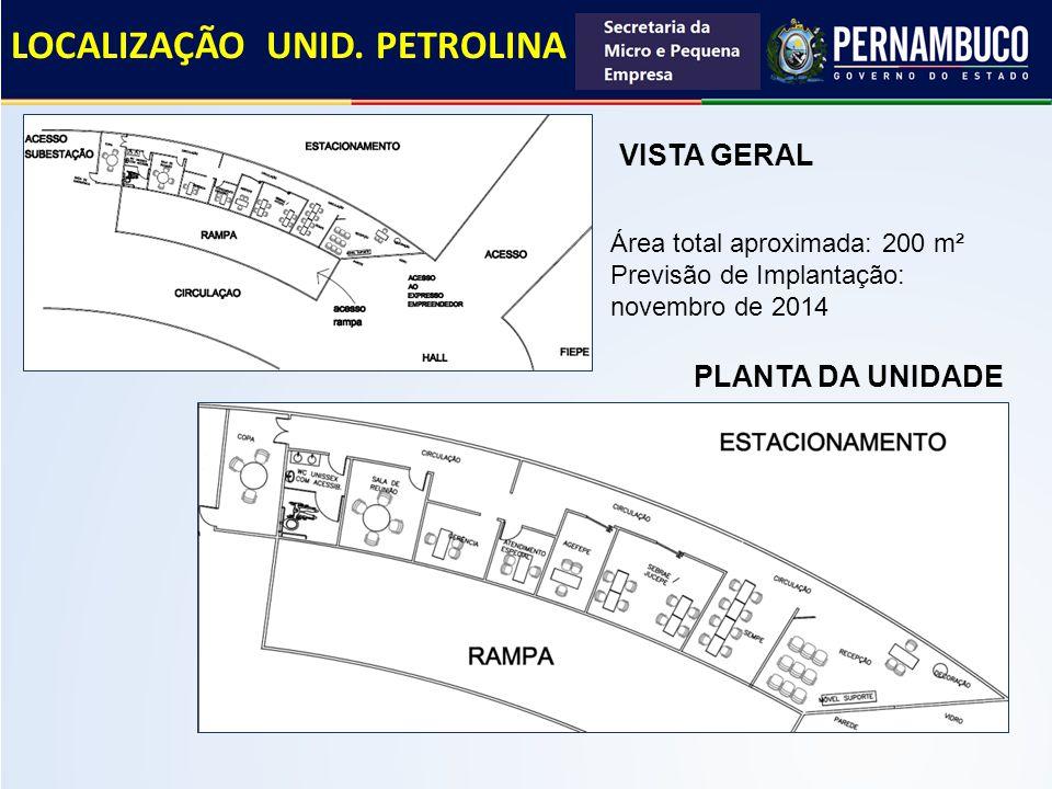 VISTA GERAL Área total aproximada: 200 m² Previsão de Implantação: novembro de 2014 PLANTA DA UNIDADE