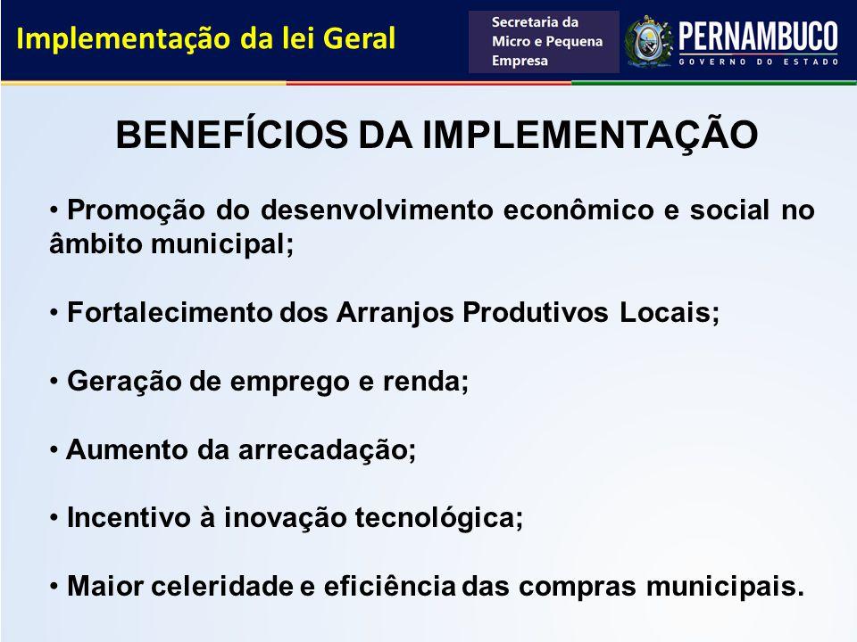 Implementação da lei Geral BENEFÍCIOS DA IMPLEMENTAÇÃO Promoção do desenvolvimento econômico e social no âmbito municipal; Fortalecimento dos Arranjos