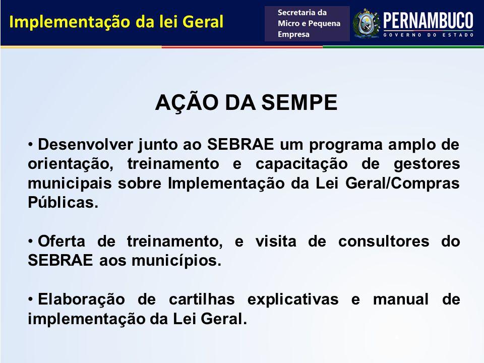 Implementação da lei Geral AÇÃO DA SEMPE Desenvolver junto ao SEBRAE um programa amplo de orientação, treinamento e capacitação de gestores municipais