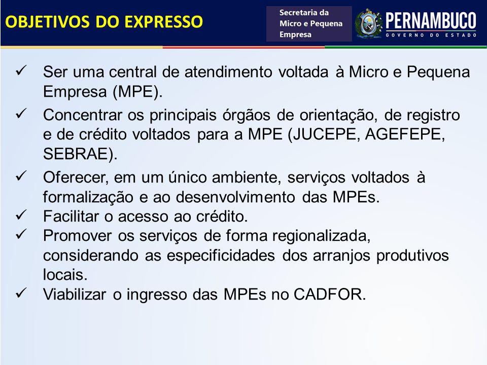 OBJETIVOS DO EXPRESSO Ser uma central de atendimento voltada à Micro e Pequena Empresa (MPE). Concentrar os principais órgãos de orientação, de regist