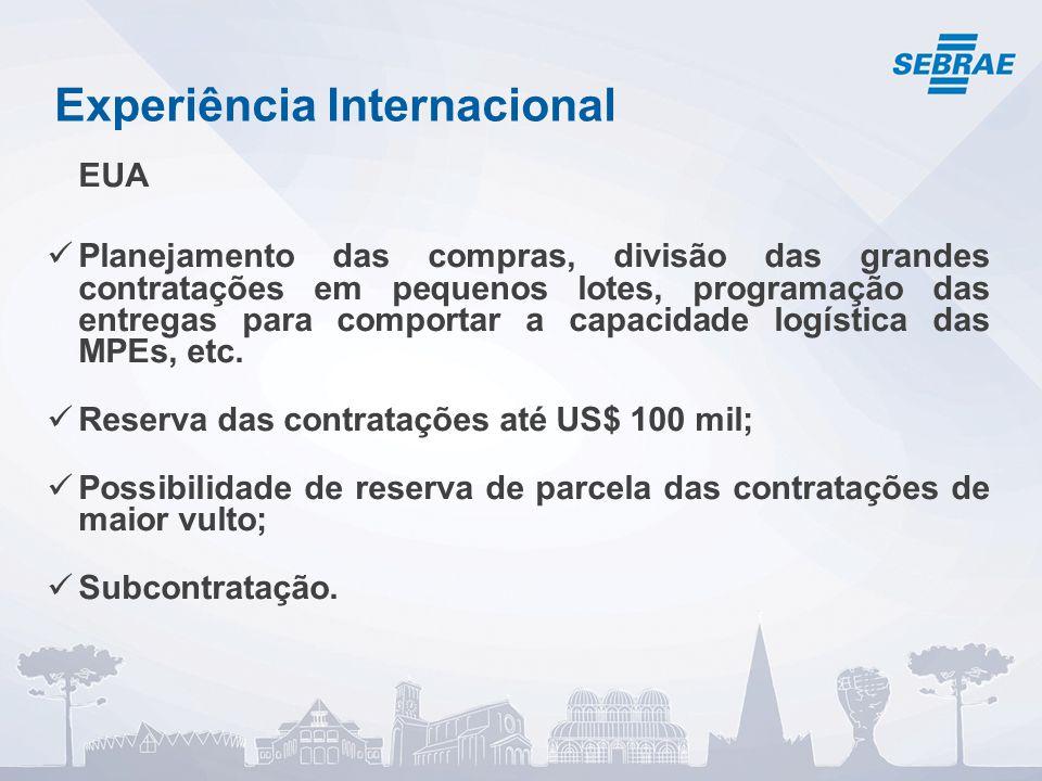 Experiência Internacional EUA Planejamento das compras, divisão das grandes contratações em pequenos lotes, programação das entregas para comportar a capacidade logística das MPEs, etc.