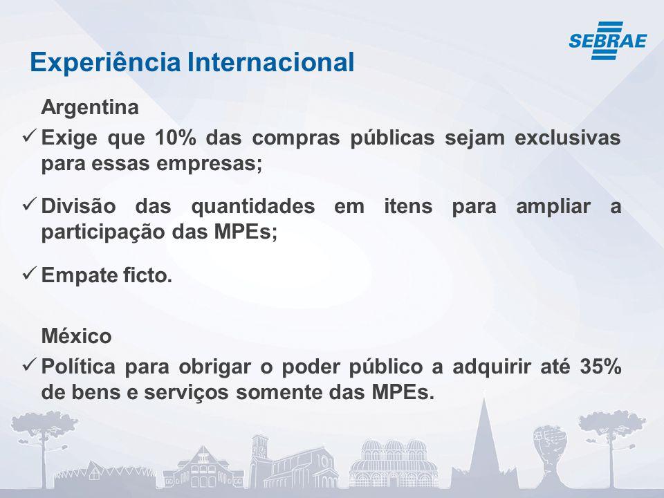 Experiência Internacional Argentina Exige que 10% das compras públicas sejam exclusivas para essas empresas; Divisão das quantidades em itens para ampliar a participação das MPEs; Empate ficto.