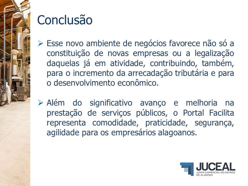Conclusão  Esse novo ambiente de negócios favorece não só a constituição de novas empresas ou a legalização daquelas já em atividade, contribuindo, t