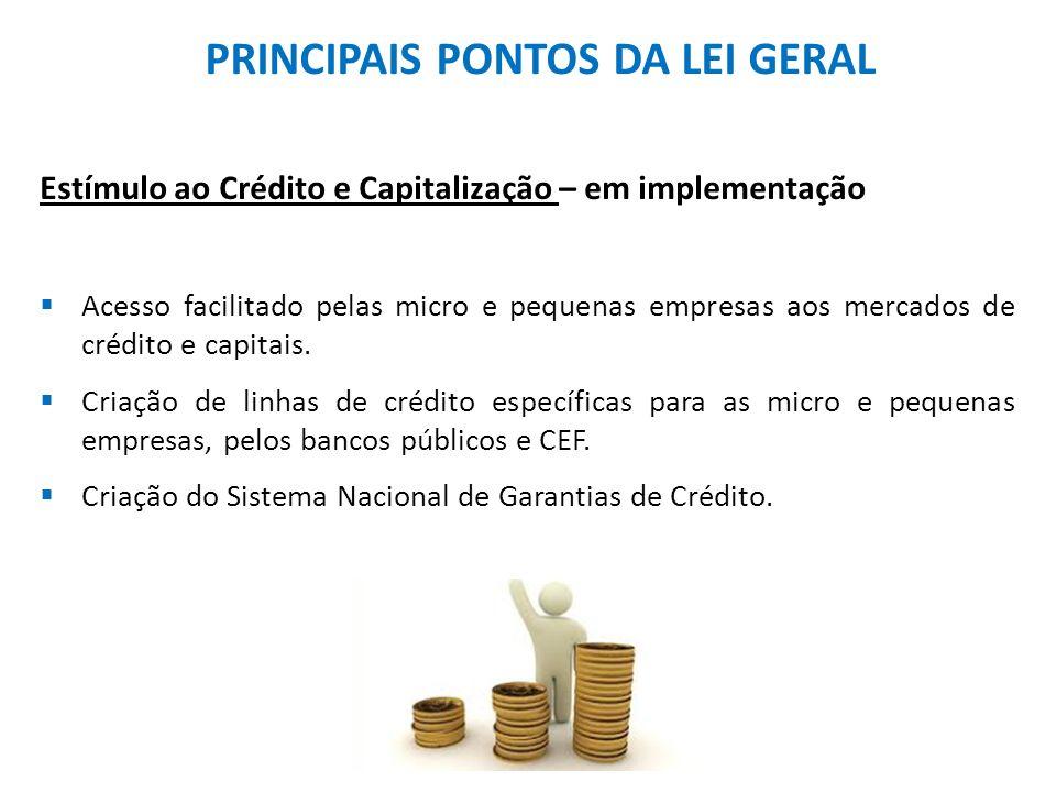 PRINCIPAIS PONTOS DA LEI GERAL Estímulo ao Crédito e Capitalização – em implementação  Acesso facilitado pelas micro e pequenas empresas aos mercados de crédito e capitais.