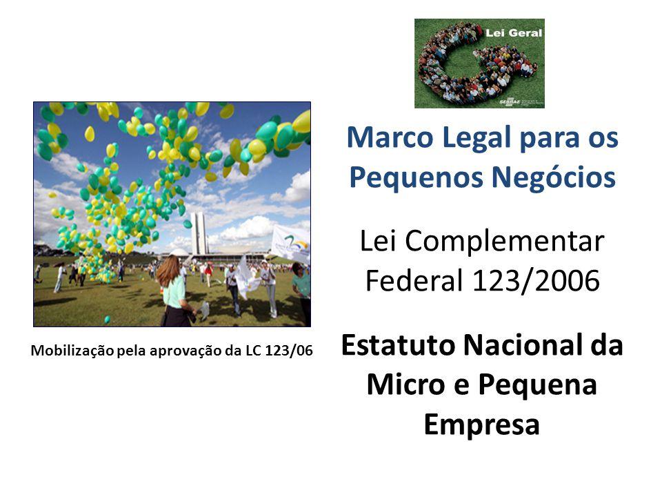 Marco Legal para os Pequenos Negócios Lei Complementar Federal 123/2006 Estatuto Nacional da Micro e Pequena Empresa Mobilização pela aprovação da LC 123/06