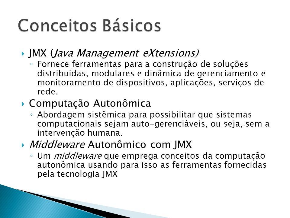  JMX (Java Management eXtensions) ◦ Fornece ferramentas para a construção de soluções distribuídas, modulares e dinâmica de gerenciamento e monitoram