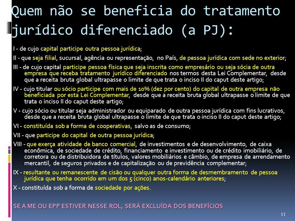 Quem não se beneficia do tratamento jurídico diferenciado (a PJ) : I - de cujo capital participe outra pessoa jurídica; II - que seja filial, sucursal