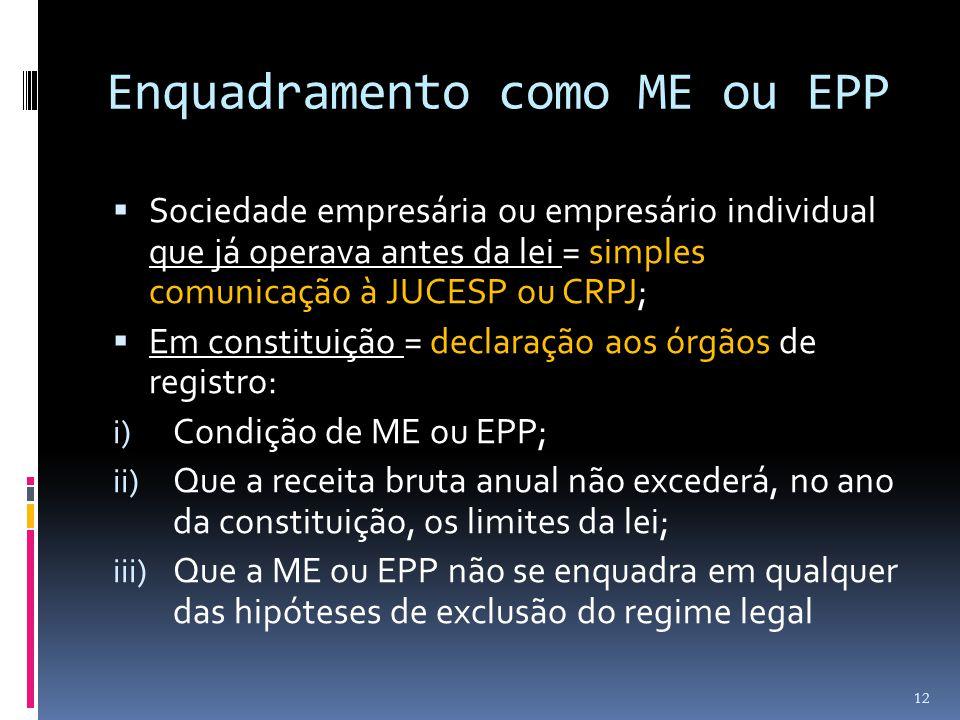 Enquadramento como ME ou EPP  Sociedade empresária ou empresário individual que já operava antes da lei = simples comunicação à JUCESP ou CRPJ;  Em