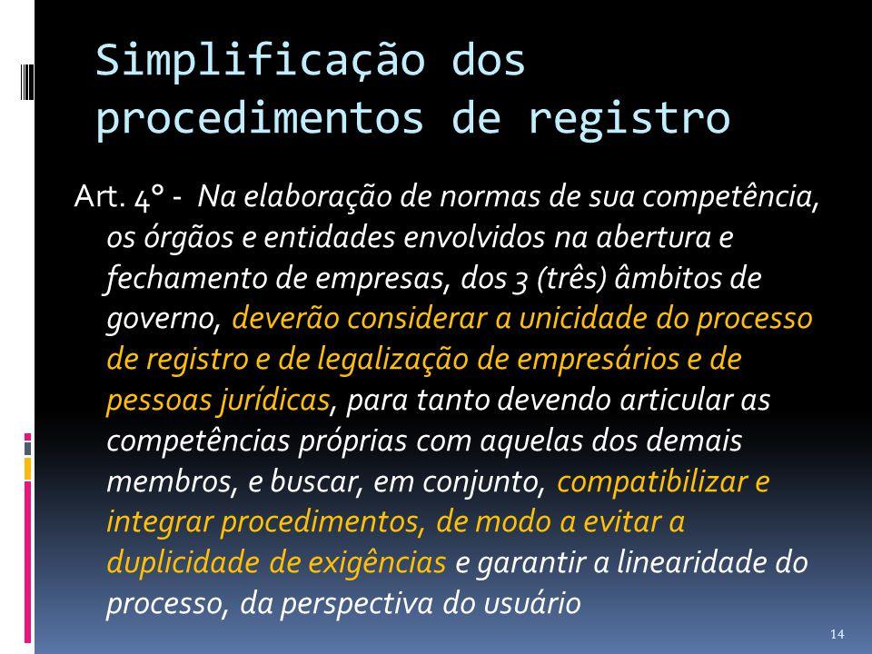 Simplificação dos procedimentos de registro Art. 4° - Na elaboração de normas de sua competência, os órgãos e entidades envolvidos na abertura e fecha