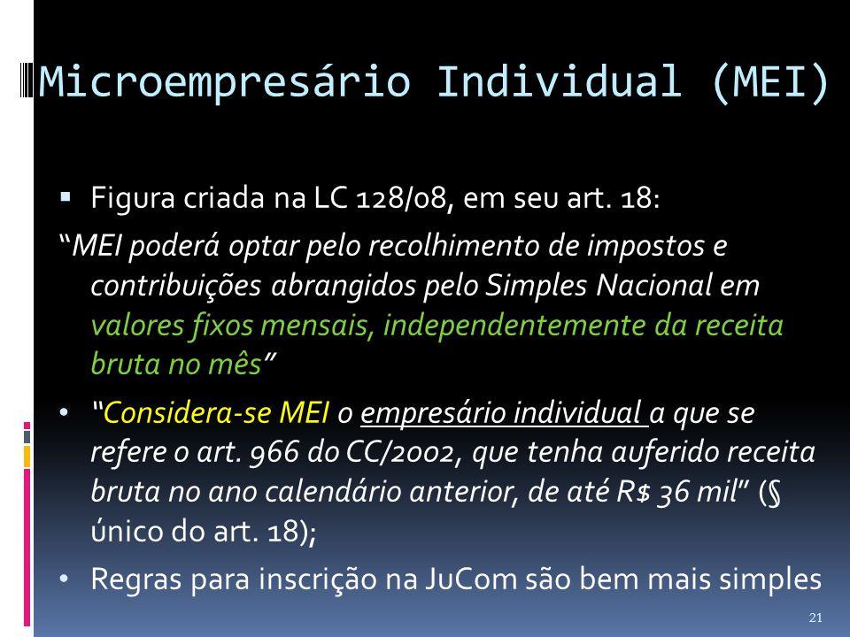 """Microempresário Individual (MEI)  Figura criada na LC 128/08, em seu art. 18: """"MEI poderá optar pelo recolhimento de impostos e contribuições abrangi"""