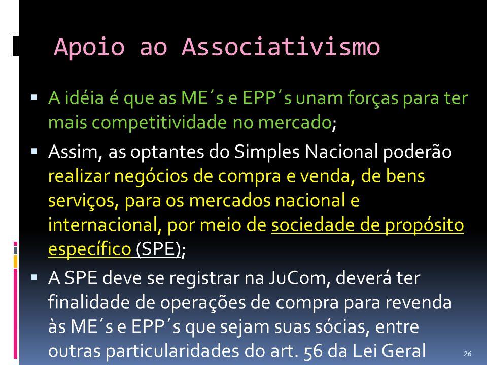 Apoio ao Associativismo  A idéia é que as ME´s e EPP´s unam forças para ter mais competitividade no mercado;  Assim, as optantes do Simples Nacional