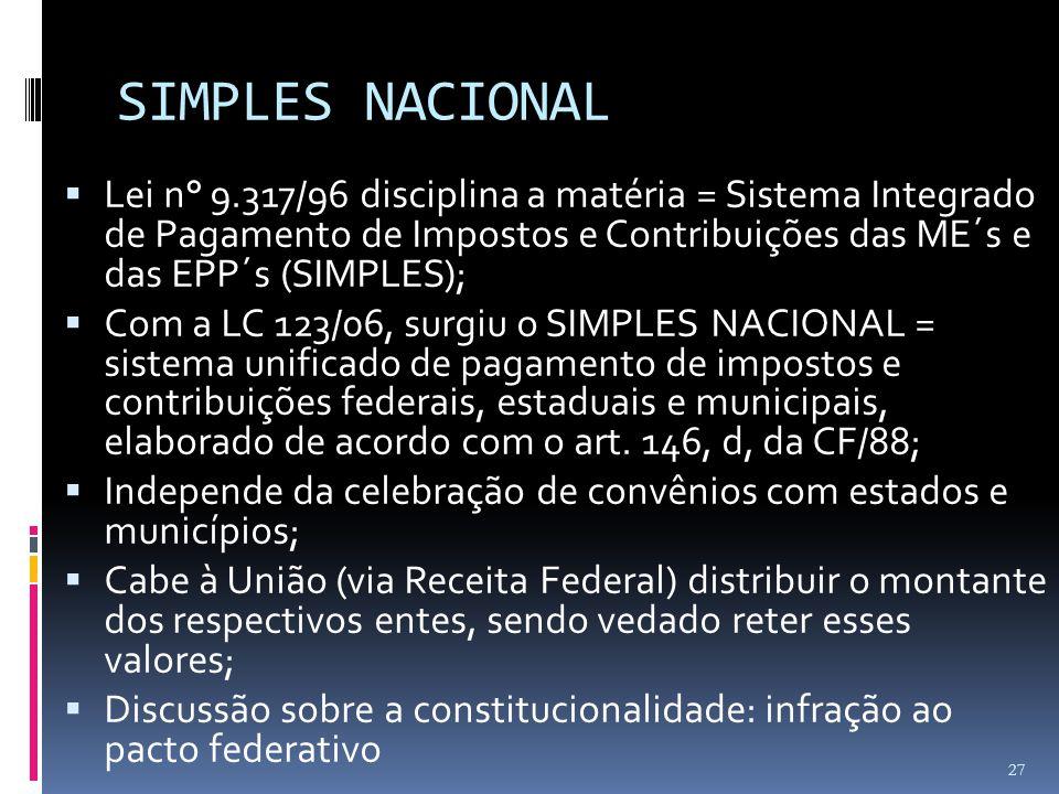 SIMPLES NACIONAL  Lei n° 9.317/96 disciplina a matéria = Sistema Integrado de Pagamento de Impostos e Contribuições das ME´s e das EPP´s (SIMPLES); 