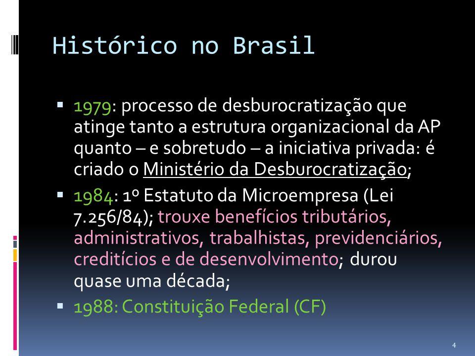 Histórico no Brasil  1979: processo de desburocratização que atinge tanto a estrutura organizacional da AP quanto – e sobretudo – a iniciativa privad