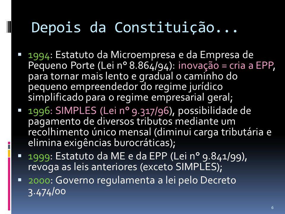 Depois da Constituição...  1994: Estatuto da Microempresa e da Empresa de Pequeno Porte (Lei n° 8.864/94): inovação = cria a EPP, para tornar mais le